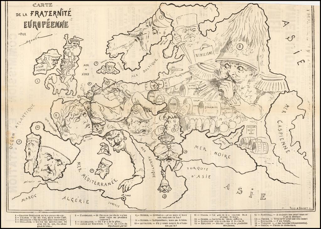 Carte de la Fraternite Europeenne By Yves & Barret
