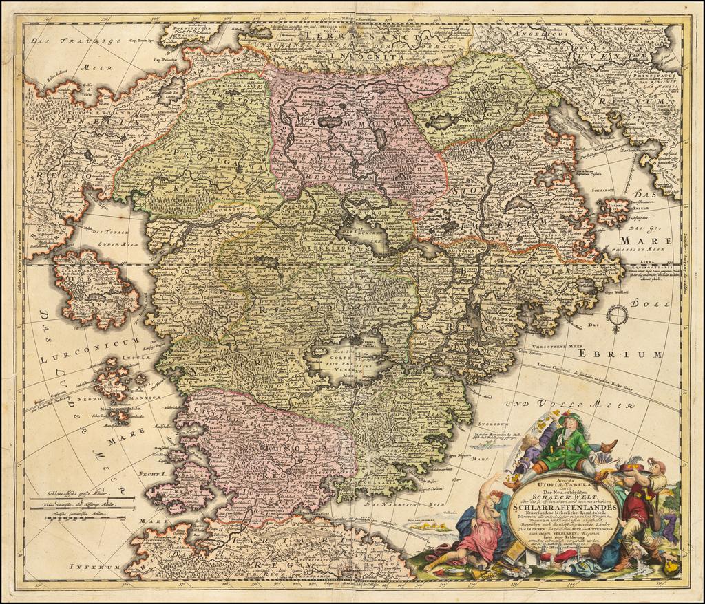 (Utopia)  Accurata Utopiae Tabula das ist der Neu entdeckten Schalck-Welt oder des so offt benanten, und doch nie erkanten chlarraffenlandes. . .  By Johann Baptist Homann