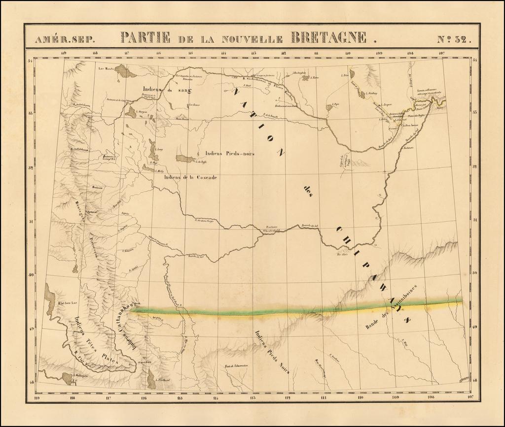 [Montana, Calgary, Edmonton, Saskatchewan] Amer. Sep. No. 32.  Partie De La Nouvelle Bretagne   By Philippe Marie Vandermaelen