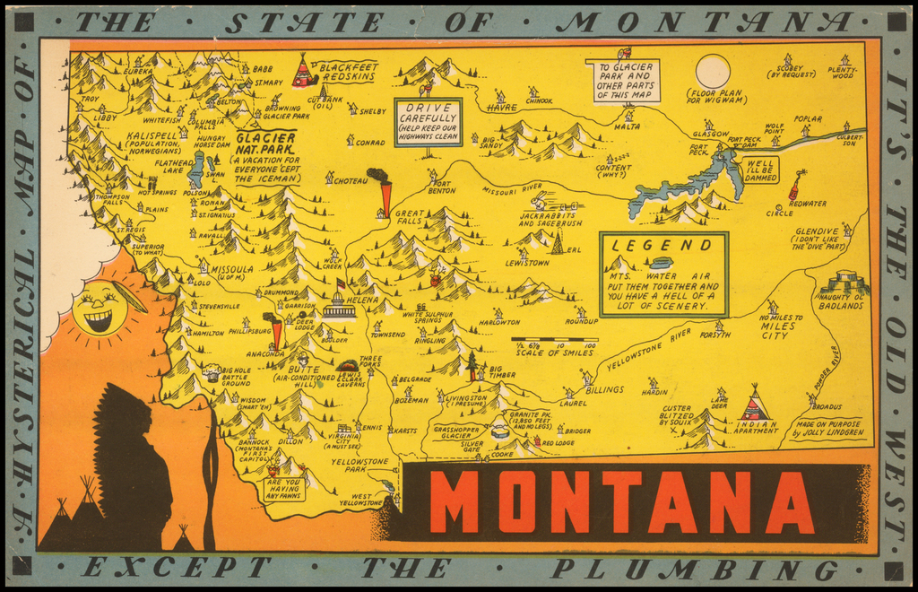 A Hysterical Map Of The State of Montana. Its The Old West Except The Plumbing By Lindgren Brothers