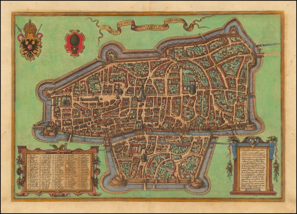 [Augsburg]  Augusta iuxta figuram quam his ce temporibus habet delineata By Georg Braun  &  Frans Hogenberg