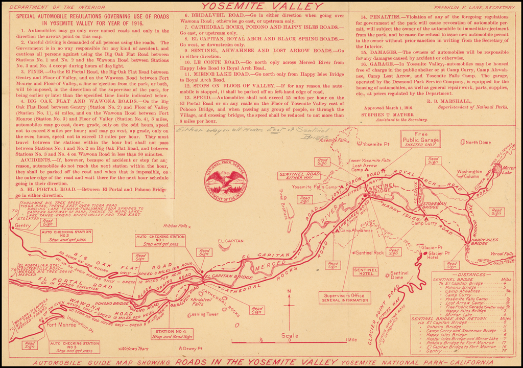 Automobile Guide Map Showing Roads in the Yosemite Valley  By United States Department of the Interior