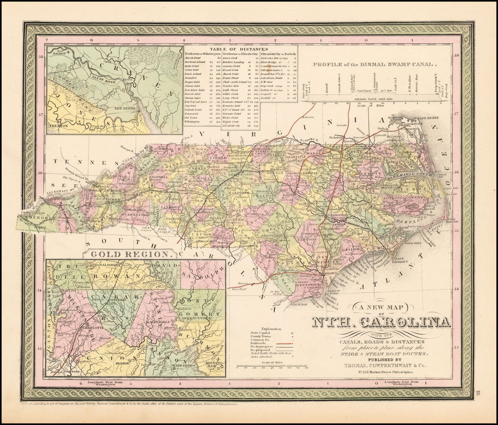 A New Map Of Nth. Carolina with its Canals, Roads & Distances from Place to Place, along the Stage & Steam Boat Routes By Thomas, Cowperthwait & Co.