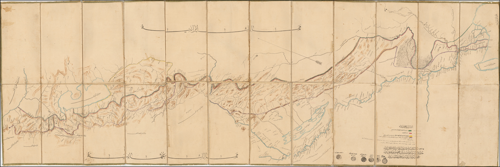 [Iraq- Iran Border Survey] Map of the Ottoman-Iranian border [Compiled] by the Special Border Commission. 1325 R. By Harbiye Nezâreti
