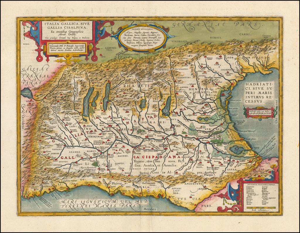 Italia Gallica, Sive Gallia Cisalpina, Ex conatibus Geographicis Abrah. Ortelij…. By Abraham Ortelius