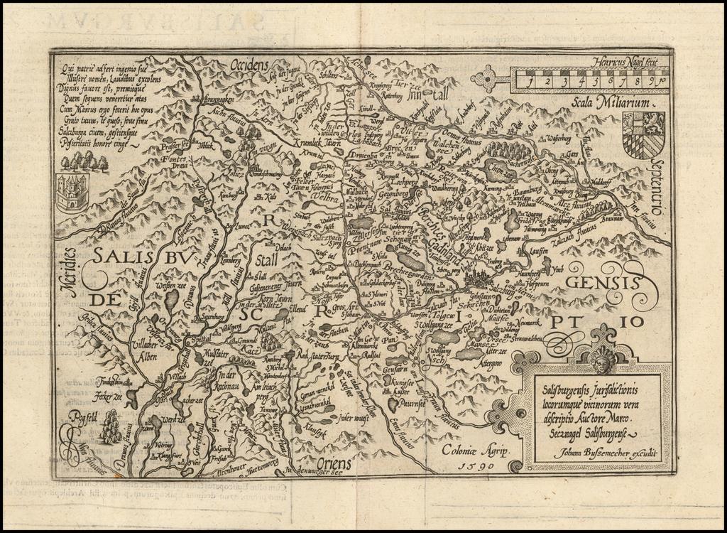 Salisburgensis Jurisdictionis locorumque vicinorum vera descriptio Auctore Marco Secznagel Salisburgense . . .  1590 By Matthias Quad / Johann Bussemachaer