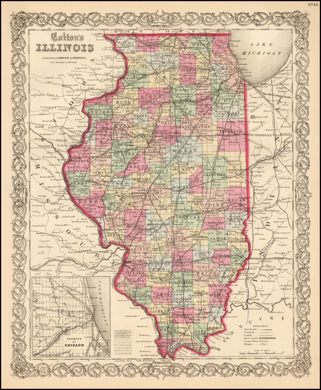 Colton's Illinois By Joseph Hutchins Colton