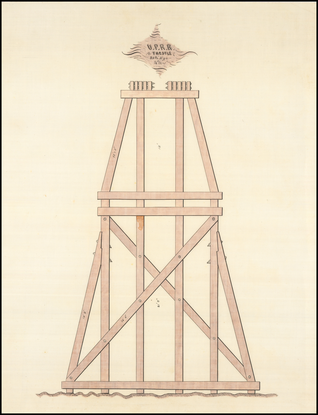 "(UPRR Manuscript Architectural Drawing) U.P.R.R Trestle, 39 4/10' High 1/4"" in=1' By Henry Harding"
