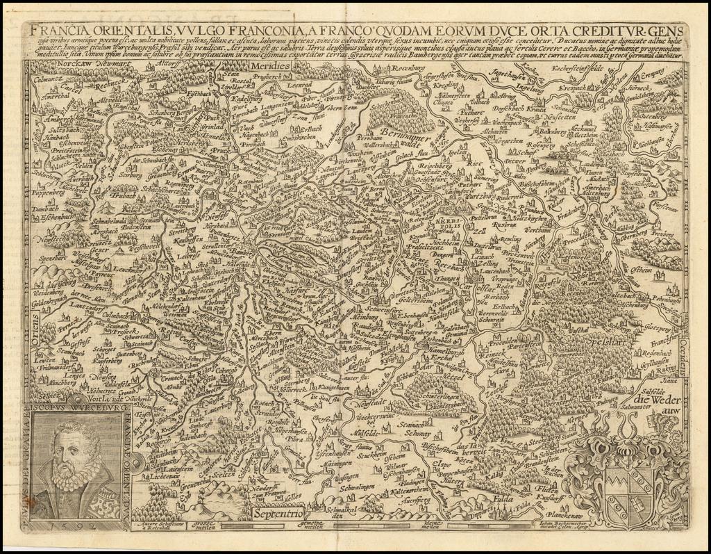Francia Orientalis, Vulgo Franconia, A Franco Quodam Eorum Euce Orta Creditur Gens . . .  By Matthias Quad / Janus Bussemacher