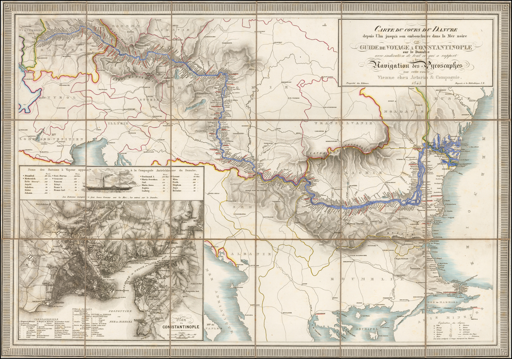 Carte Du Cours Du Danube depuis Ulm jusqu'a son embouchure Dans la Mer noire ou Guide du Voyage a Constantinople sur le Danube avec indication de tout ce qui a rapport a la Navigation des Pyroscaphes sur cette route . . . 1843 By Artaria & Co.