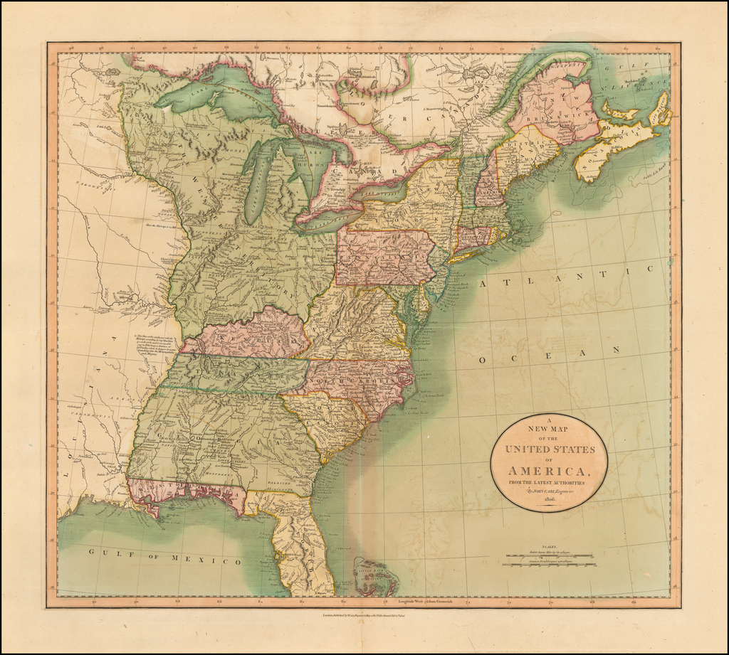A New Map of the United States of America From The Latest Authorities . . . 1806 By John Cary