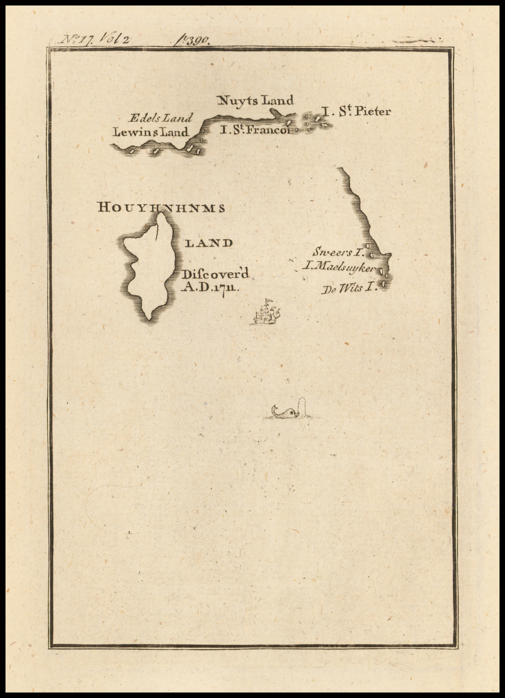 [Australia and Houyhnhnms Land from Gulliver's Travels] By Jonathan Swift