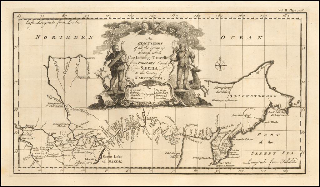 An Exact Chart of all the Countries through which Capt. Behring Travelled from Tobolski, Capital of Siberia to the Country of Kamtschatka By Emanuel Bowen