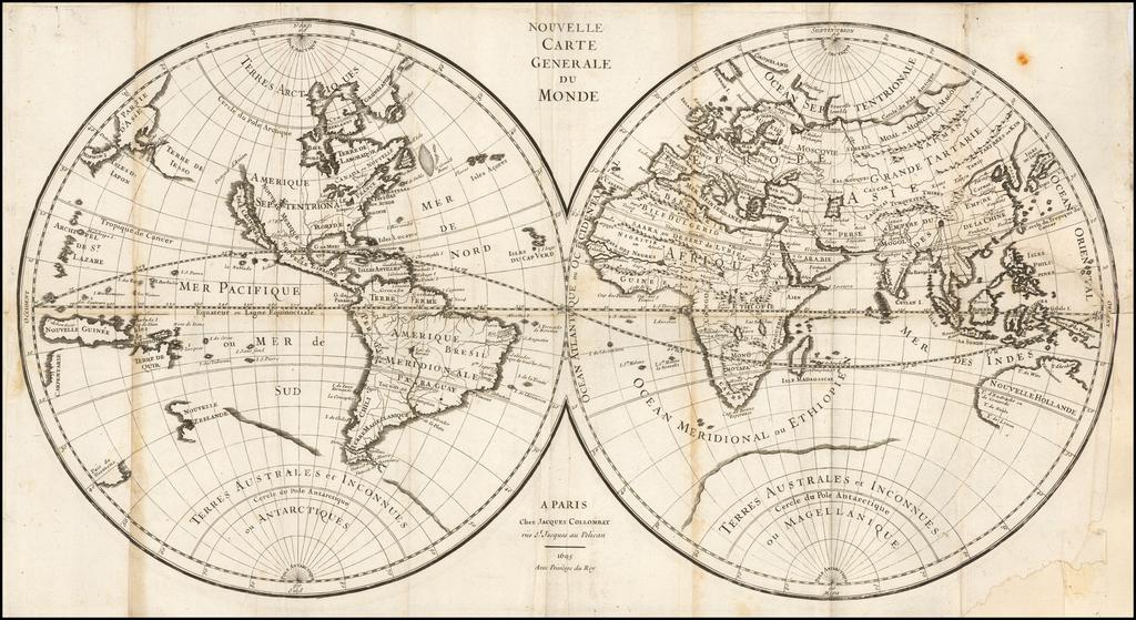 Nouvelle Carte Generale du Monde . . . 1695 By Jacques Collombat