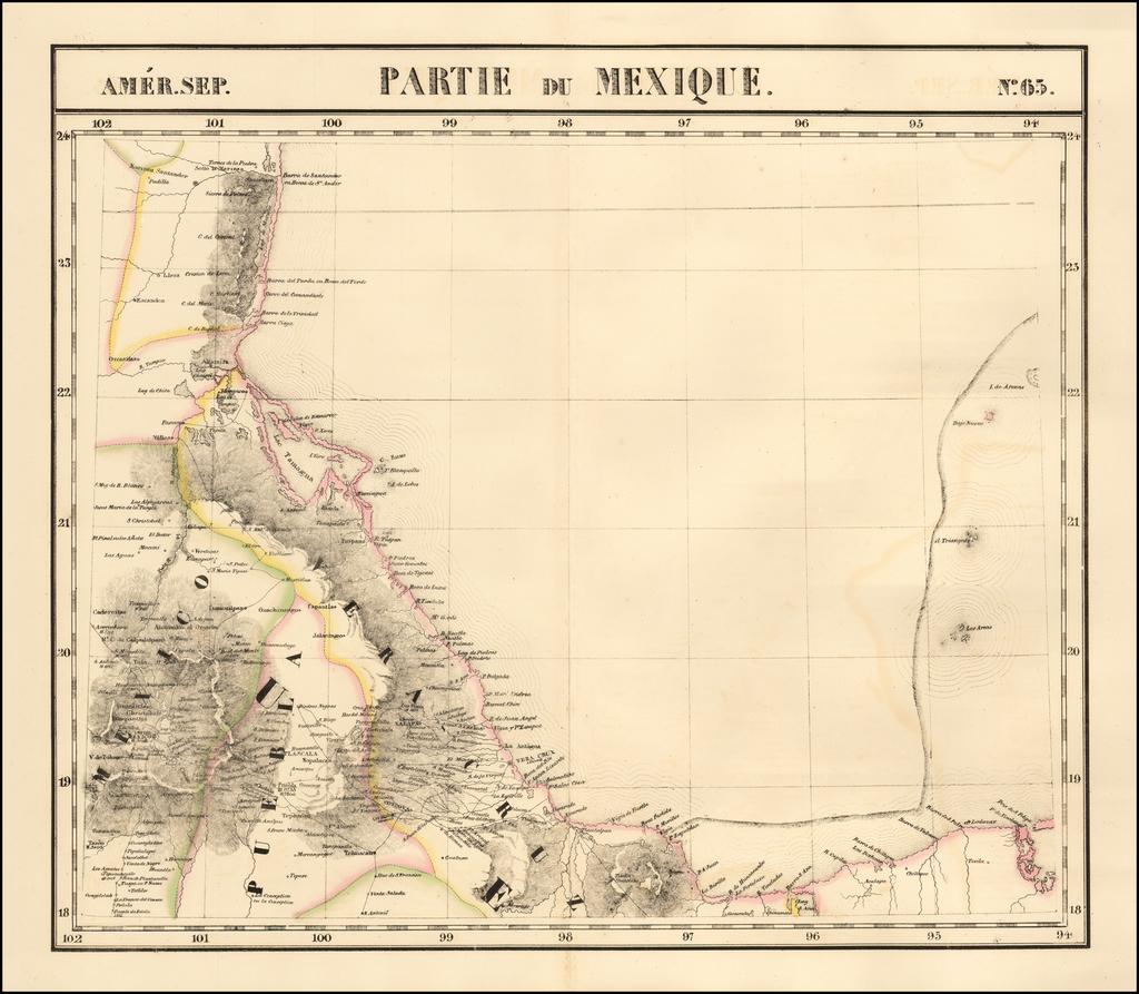 [Gulf Coast, Mexico, Puebla, Vera Cruz, etc]  Amer. Sep. No. 65.  Partie Du Mexique  By Philippe Marie Vandermaelen