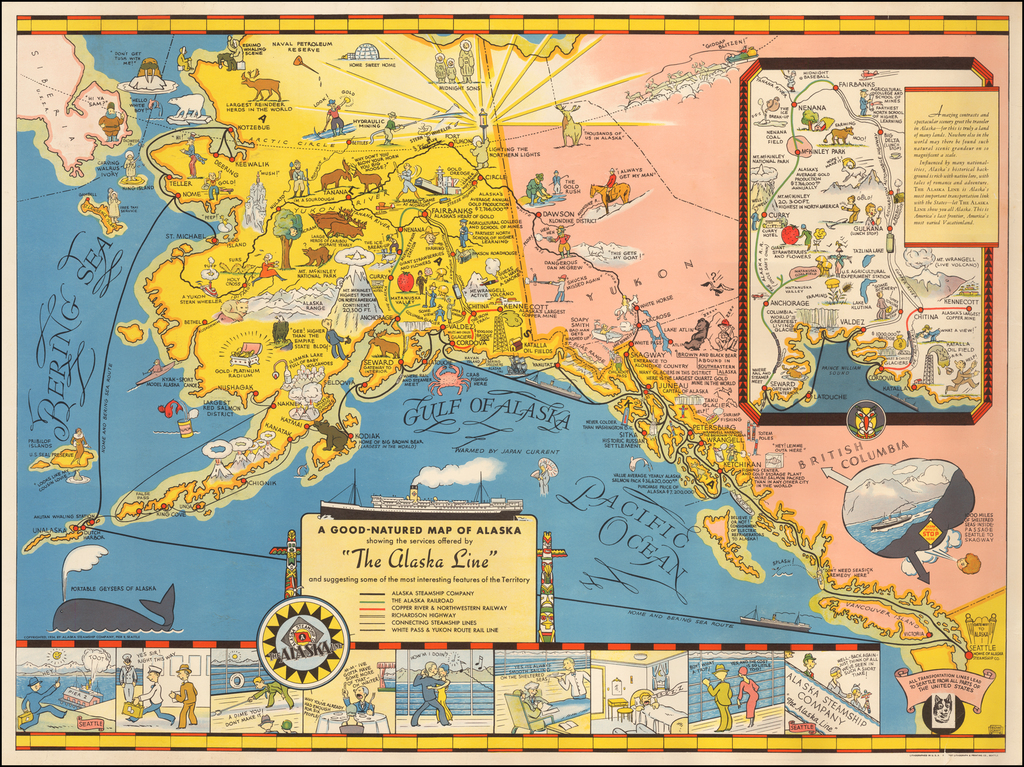 """A Good-Natured Map of Alaska showing the services offered by """"The Alaska Line"""" and suggesting some of the most interesting features of the Territory By Edward Camy"""