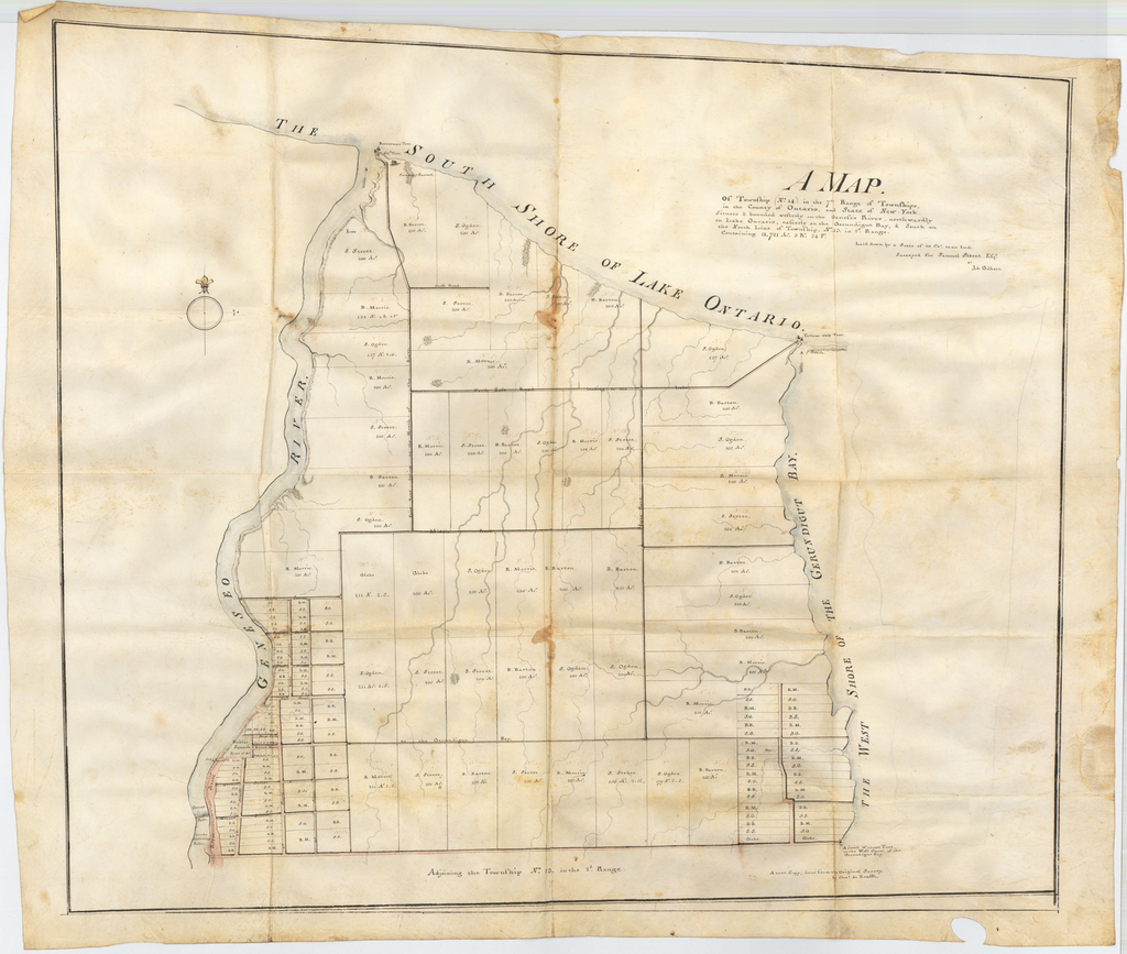 A Map. Of Township (No. 14) in the 7th Range of Townships, in the County of Ontario, and State of New-York. Situate & bounded westerly on the Geneseo River, northwardly on Lake Ontario, easterly on the Gerundigut Bay, & South on the North Line of Township, No. 13. in 2d. Range. Containing 11,721 Acs. 3 Rs. 34 Ps. By Charles de Krafft