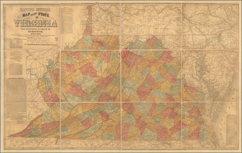 Lloyd's Official Map of the State of Virginia From actual surveys by order of the Executive, 1828 & 1859 Corrected and revised by J. T. Lloyd to 1862, from Surveys made by Capt. W. Angelo Powell of the U.S. Topographical Engineers of Gen. Rosencrans Staff. By J.T. Lloyd