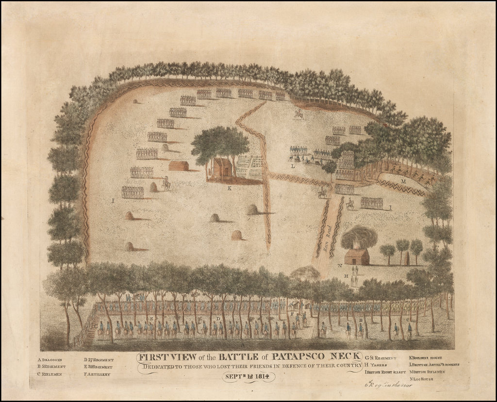First View of the Battle of Patapsco Neck Dedicated To Those Who Lost Their Friends In Defence of Their Country  Septr. 12 1814 By Andrew Dulac