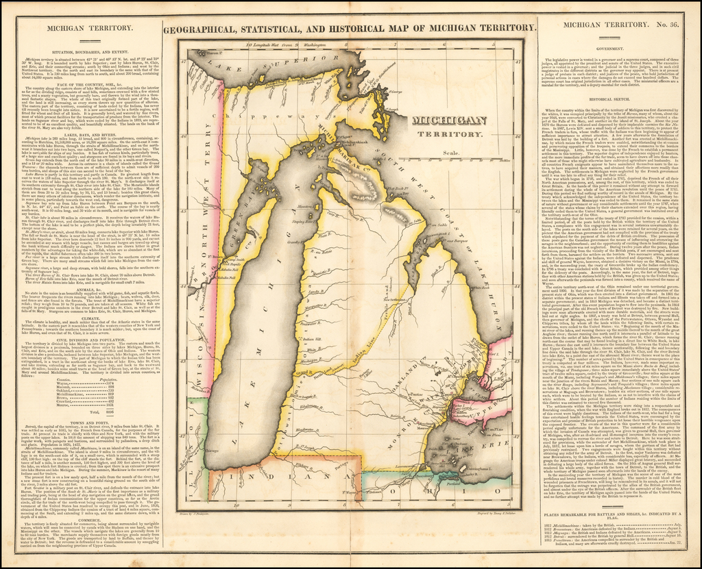 Geographical, Statistical and Historical Map of Michigan Territory By Henry Charles Carey  &  Isaac Lea