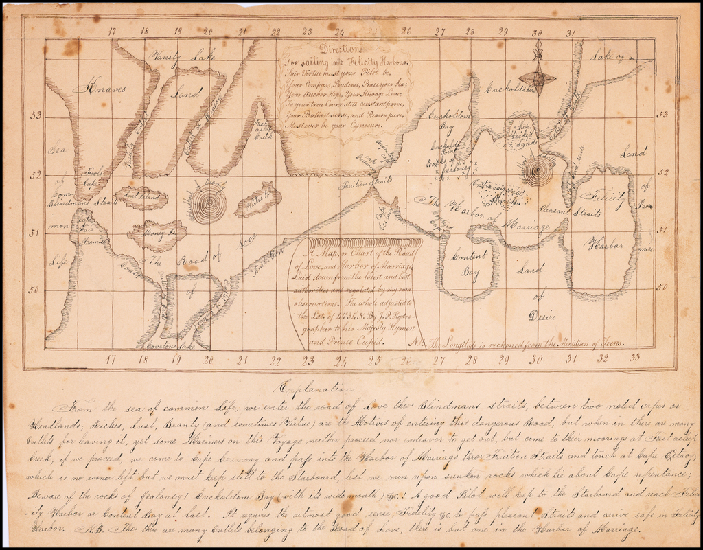 A Map, or Chart of the Road of Love, and Harbor of Marriage, Laid down from the latest and bet authorities and regulated by my own observations.  The whole adjusted to the Lat. of 44º 34' N. By J.P. Hydrographer to his Majesty Hymen and Prince Cupid. By B. Jamison