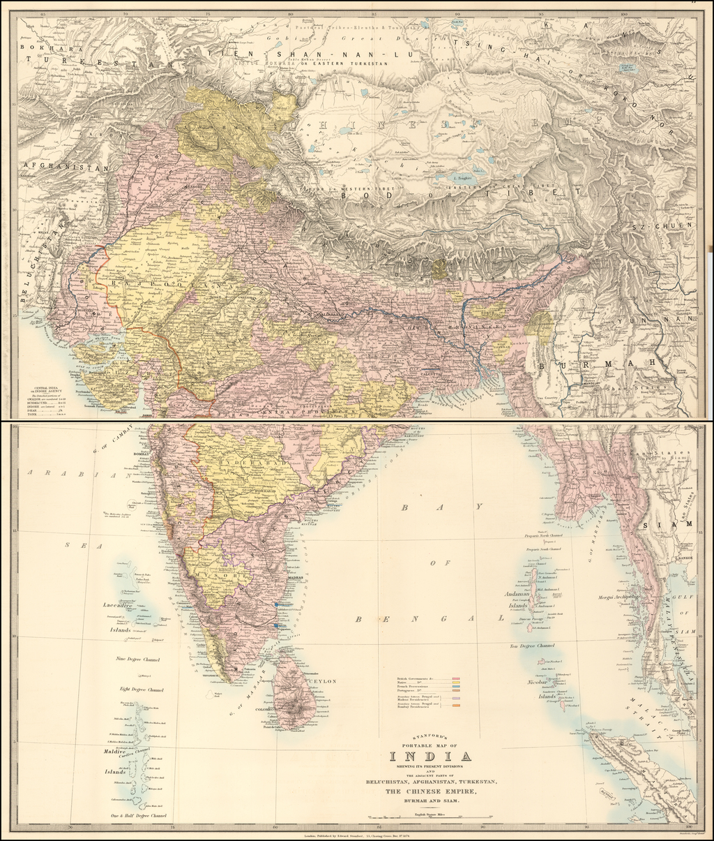 Stanford's Portable Map of India Shewing its Present Divisions and The Adjacent Parts of Beluchistan, Afghanistan, Turkestan, The Chinese Empire, Burmah and Siam. By Edward Stanford