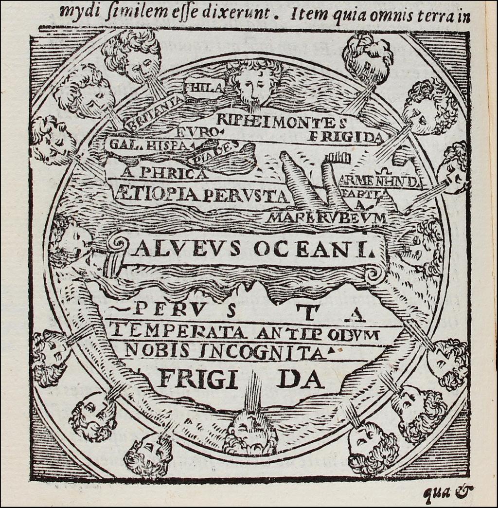 (Macrobius World Map) (Macrobii Ambosii Aurellii Theodosii, Viri consularis & illustris . . . M D L X X By Ambrosius Macrobius