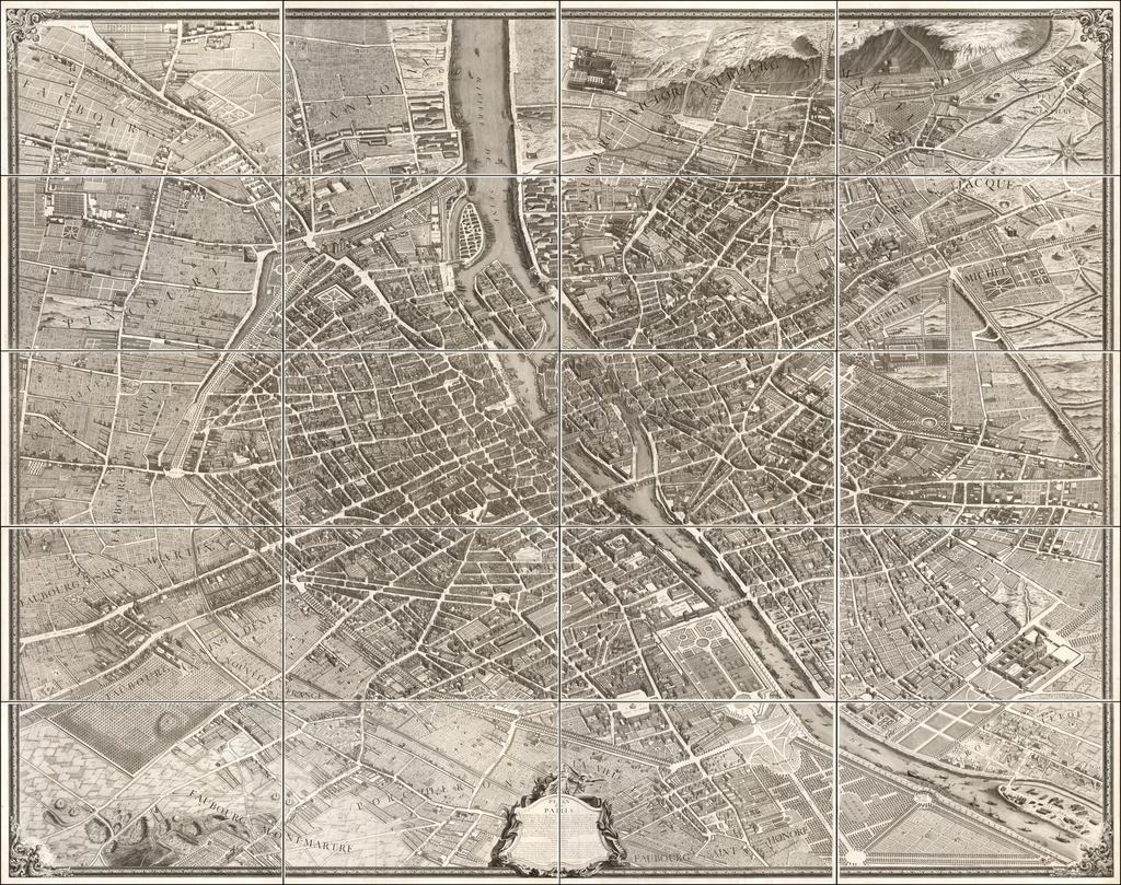 Plan de Paris commencé l'année 1734. By Michel-Étienne Turgot  &  Louis Bretez