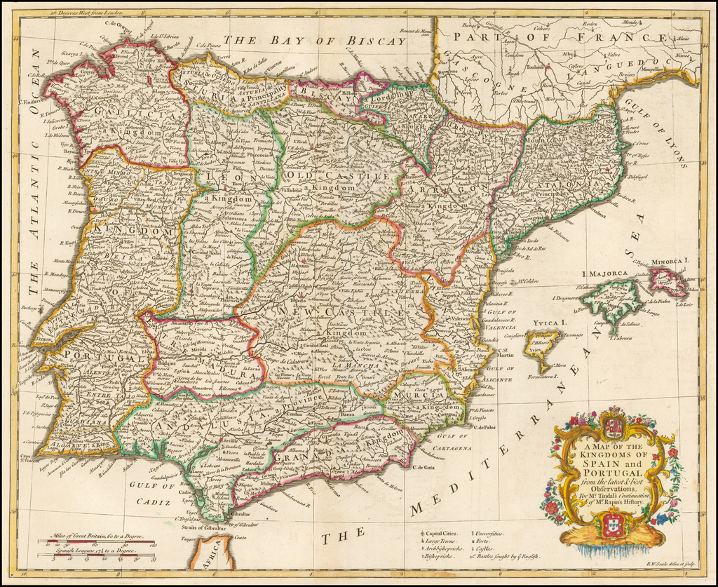 A Map of The Kingdoms of Spain and Portugal from the latest & best Observations By Paul de Rapin de Thoyras / Nicholas Tindal