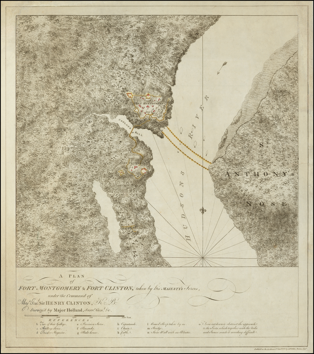 A Plan of Fort Montgomery & Fort Clinton, taken by his Majesty's Forces, under the Comman of Maj. Genl. Sir. Henry Clinton, K: B:  Surveyed by Major Holland, Survr. Gen. c. By Joseph Frederick Wallet Des Barres