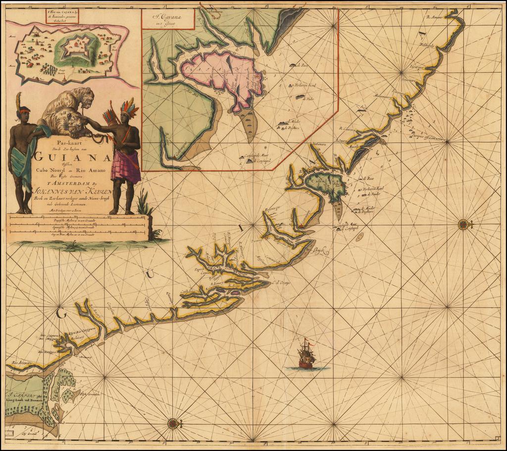 Pas-kaart Van de Zee-kusten van Guiana Tusschen Cabo Noord en Rio Amano . . .  (Inset maps of Fort van Cajana and I. Cayana) By Johannes Van Keulen