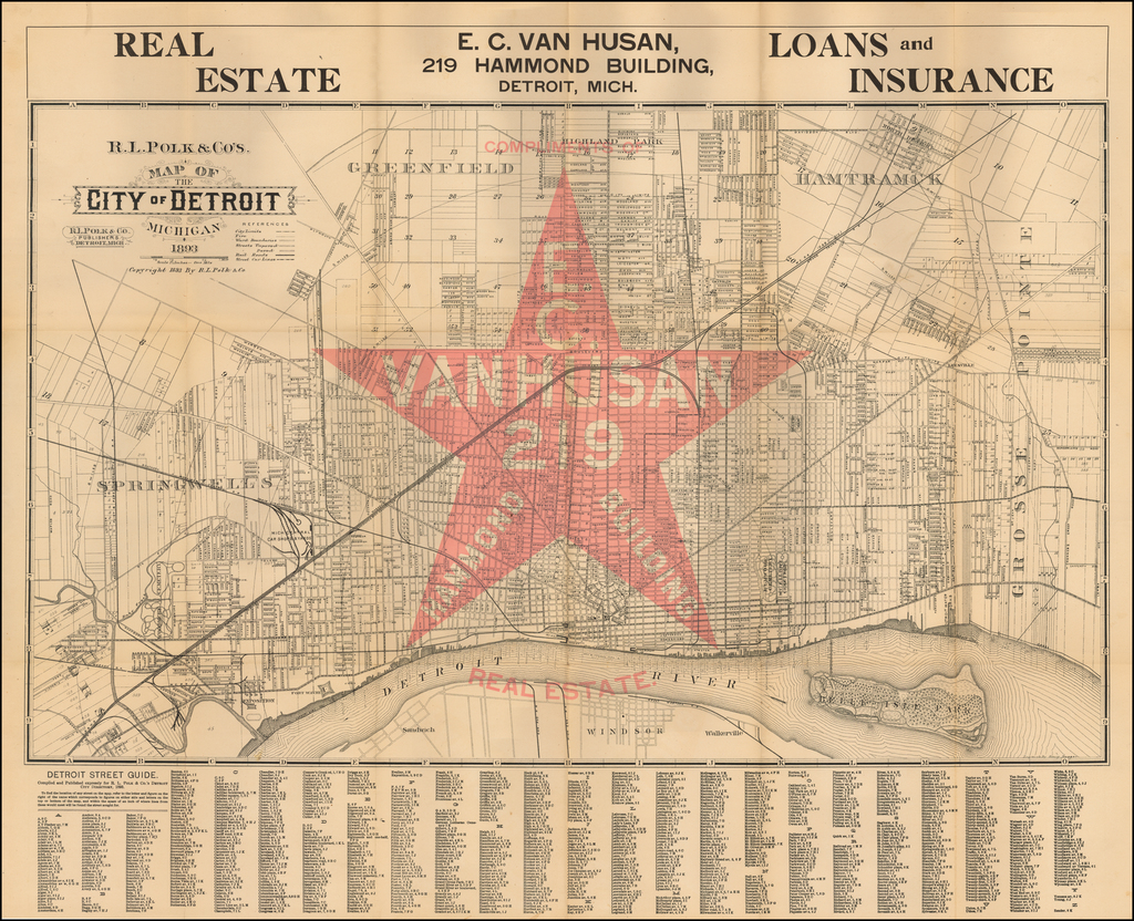 R. L. Polk & Co.'s Map of The City of Detroit Michigan 1893 By R.L. Polk