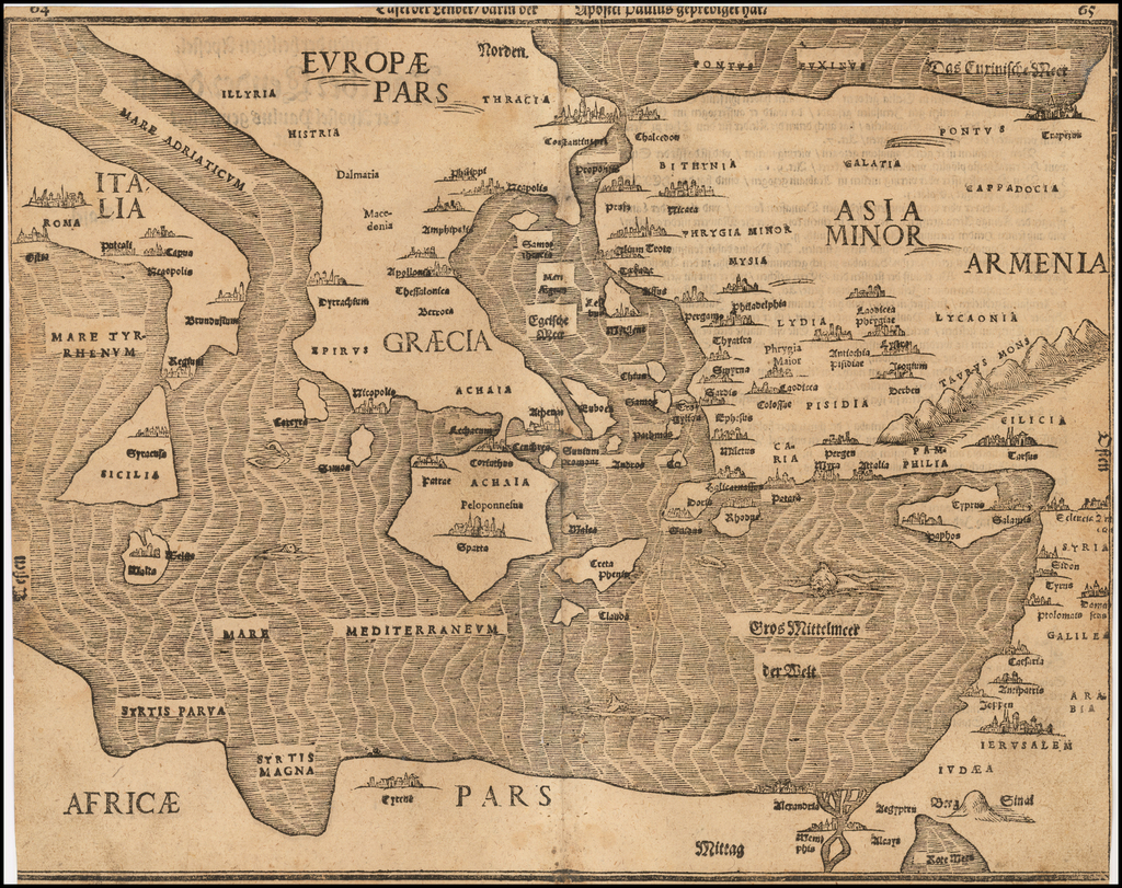 [Bunting's Map of the Mediterranean Region] By Heinrich Bunting