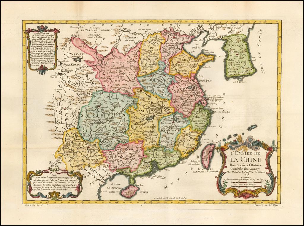 L'Empire De La Chine . . . 1748 By Jacques Nicolas Bellin
