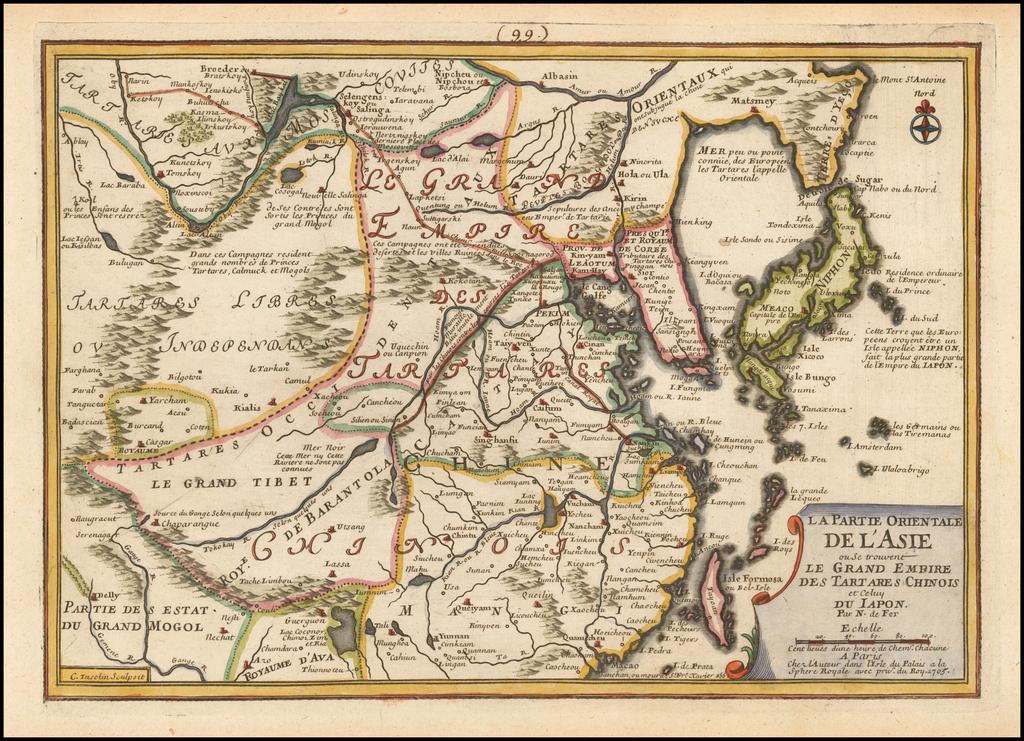 La Partie Orientale De L'Asie ou Se trouvent Le Grande Empire Des Tartares Chinois et Celuy Du Iapon . . . 1705 By Nicolas de Fer