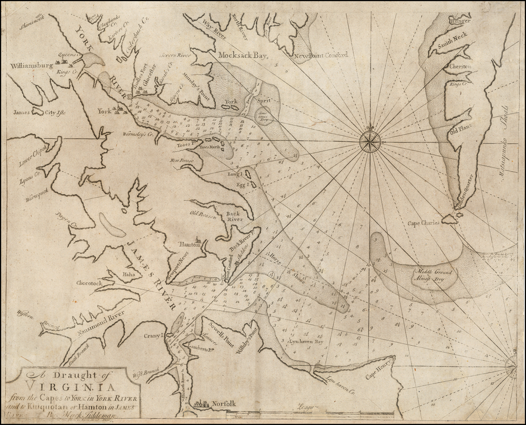 A Draught of Virginia from the Capes to York in York River and to Kuiquotan or Hamton in James River by Mark Tiddeman  By George Grierson