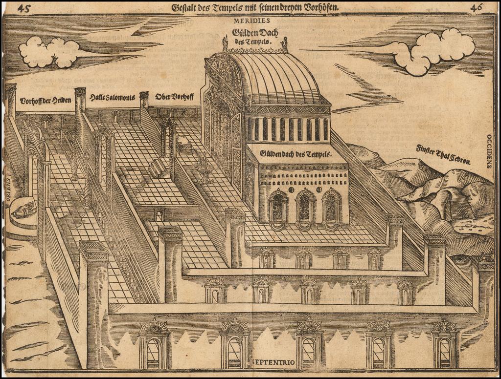 Gestalt Des Tempels Mit Seinen Dreyen Vorhofen  By Heinrich Bunting