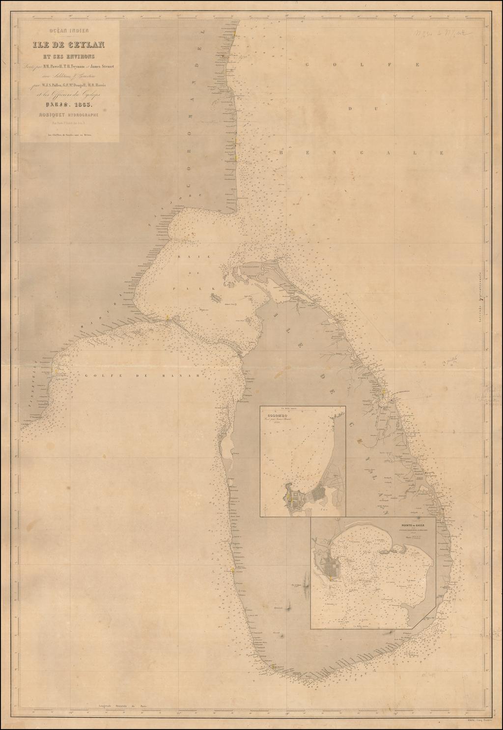 (Sri Lanka) Ile De Ceylan Et Ses Environs Levee par M.M. Powell, T.H. Twynam et James Steuart avect Additions & Corrections par W.J.S. Pullen, G.F. McDougall, H.R. Harris et les Officiers Cyclops  Paris. 1863. By Aime Robiquet