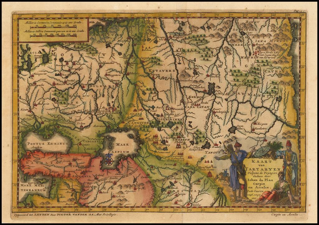 Kaart van Tartaryen Vogens de Voyagien door Johan du Plan Carpin en Acelin Inde Iaaren 1246, 1247 ens. By Pieter van der Aa