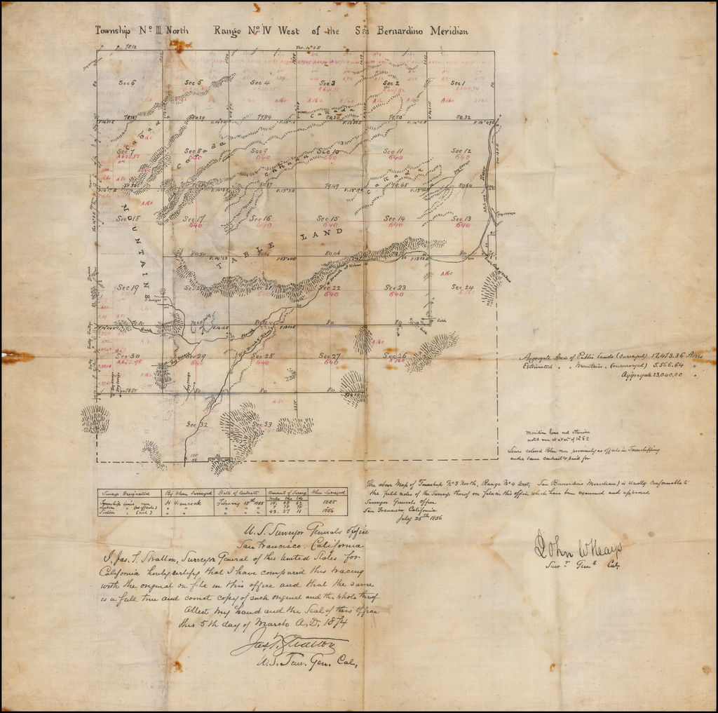 Hesperia / [Mohave River / High Desert / San Bernardino Count)  . . . Map of Township NO. 3 North, Range No. 4 West, San Bernardino Meridian By James T. Stratton