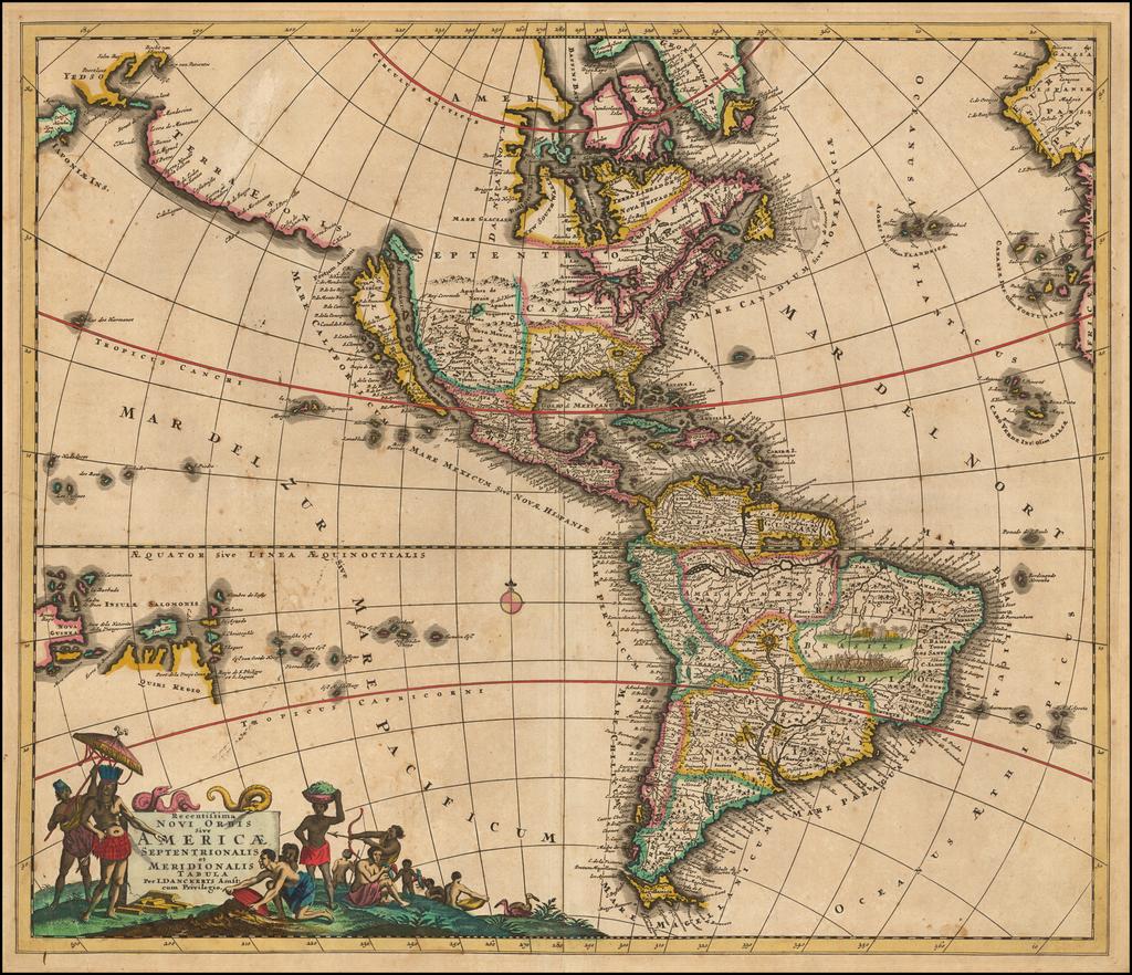 Recentissima Novi Orbis Sive Americae Septentrionalis et Meridionalis Tabula . . .   By Justus Danckerts