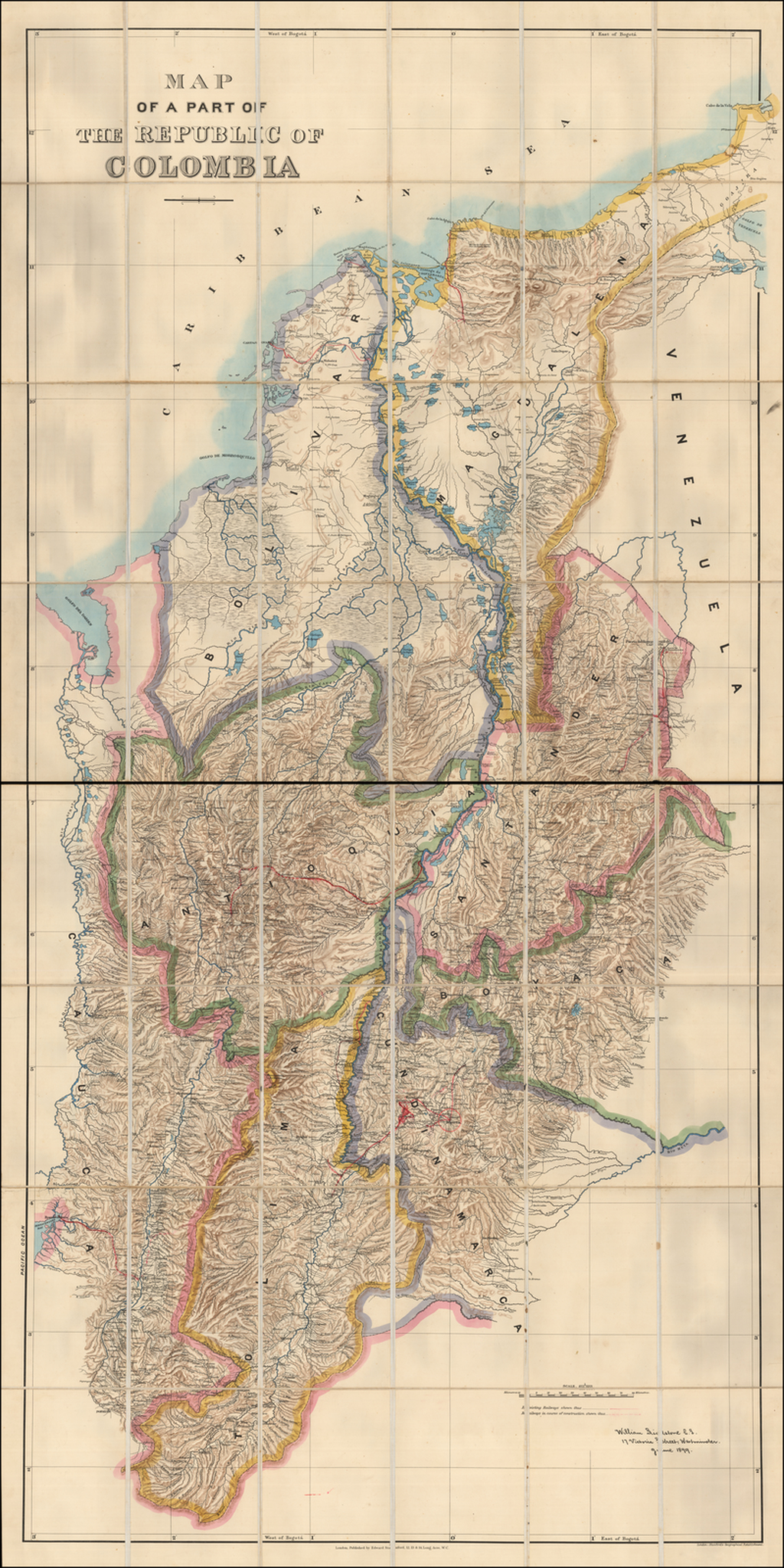 Map of a Part of the Republic of Colombia By Edward Stanford