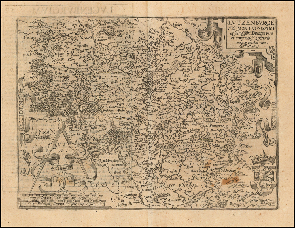 Lutzenburgensis Montuosissimi ac Saltuosissimi Ducatus vera et compendiosa descriptio nunquam antehac visa . . . 1589 By Matthias Quad / Janus Bussemacher