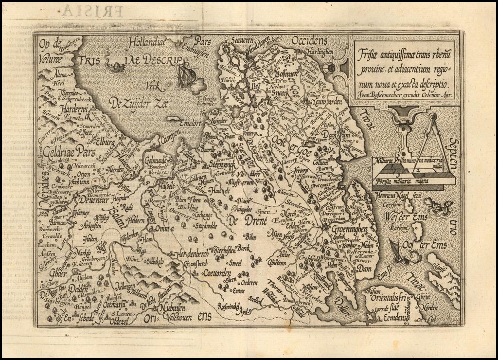 Frisiae antiquissimae trans rheni provinc. et adiacentium region num nova et exacta descriptio By Matthias Quad / Johann Bussemachaer