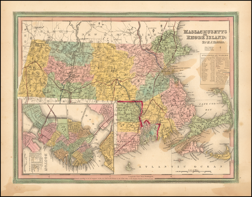 Massachusetts and Rhode Island  (with Boston inset) By Samuel Augustus Mitchell
