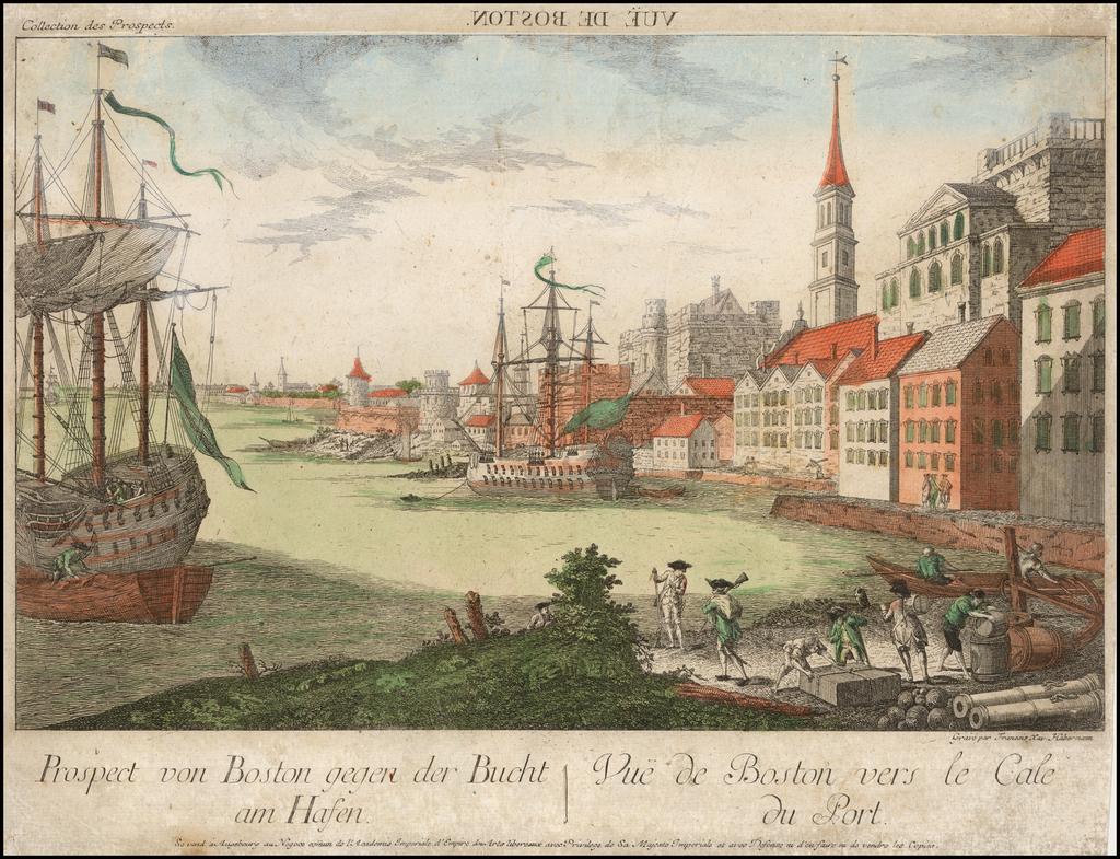 Prospect von Boston gegen der Bucht am Hafen  |  Vue de Boston vers le Cale du Port By Francois X. Habermann