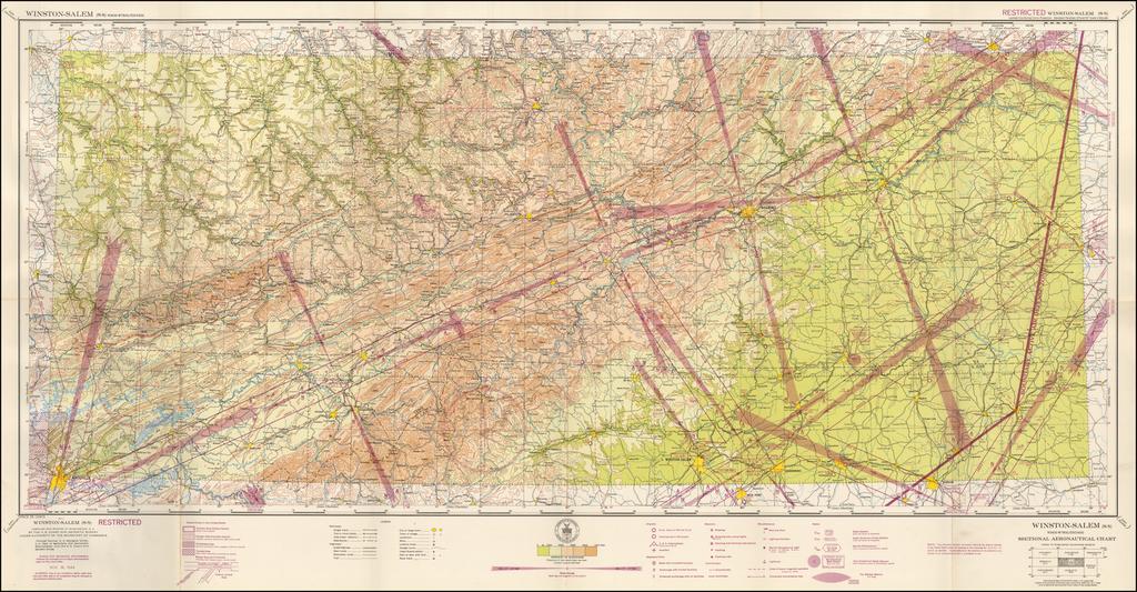 (Restricted) Winston-Salem . . . Sectional Aeronautical Chart  By U.S. Coast & Geodetic Survey
