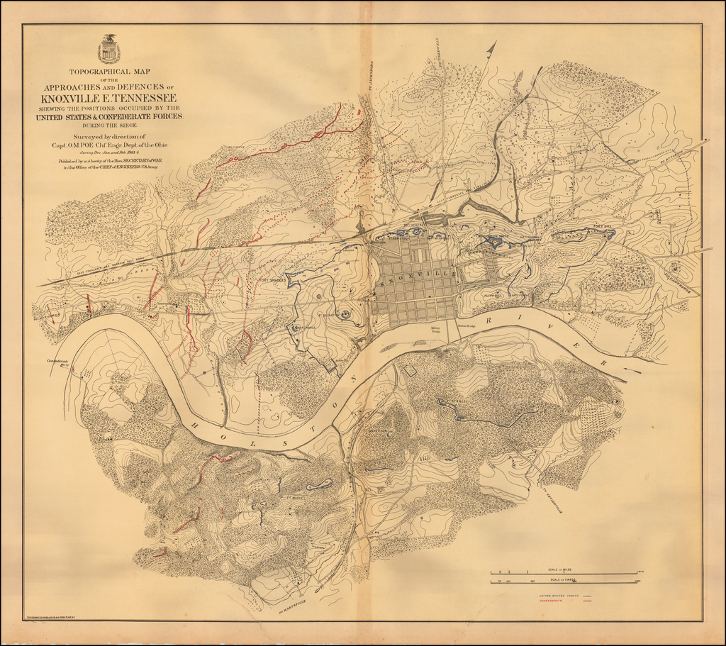 Topographical Map of the Approaches and Defences of Knoxville E. Tennessee shewing the positions occupied by the United States & Confederate Forces. During the Siege.  Surveyed by direction of Capt. O.M. Poe Chf. Engr. Dept. of the Ohio during Dec. Jan and Feb 1863-4 By U.S. War Department