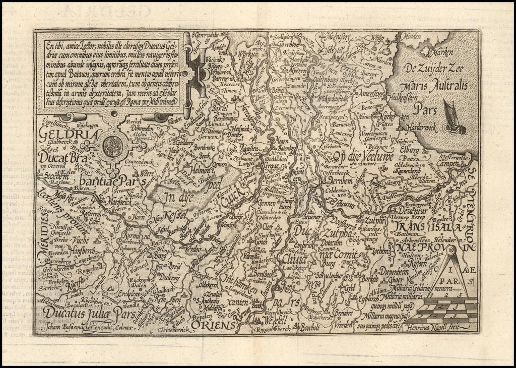 En tibi, amice Lector, nobilis ille clarusque Ducatus Geldraie cum omnibus eius limitibus . . .  By Matthias Quad / Johann Bussemachaer