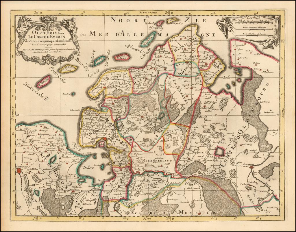 Oost-Frise, ou Le Comte D'Emden subdivise en ses princpales Iurisdictions . .  . By Alexis-Hubert Jaillot